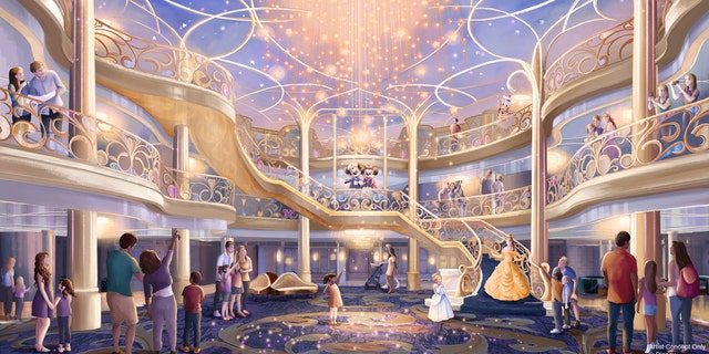 An illustrated rendering of the atrium of the future Disney Wish ship. (Disney)