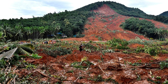 A landslide site in Kavalappara, Malappuram district, Kerala, during a visit by Congress party leader Rahul Gandhi on Sunday. (Rahul S. Ravi/All India Congress Committee via AP)