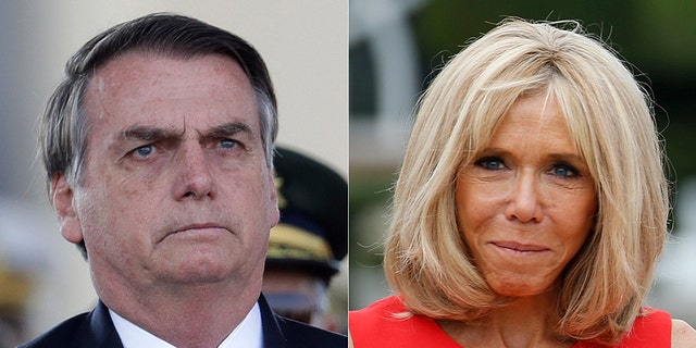 Bolsonaro (left) replied to a Facebook comment made by a supporter that criticized French President Emmanuel Macron's wife Brigitte (right).