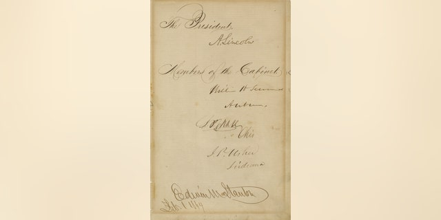 President Lincoln and his entire Cabinet gave their autographs to be auctioned to benefit the event. Signing were President Lincoln, Secretary of State William Seward, Secretary of the Treasury, Salmon Chase, Secretary of the Interior J.P. Usher of Indiana, Secretary of War Edwin. M. Stanton, Navy Secretary Gideon Welles, and Postmaster General Montgomery Blair.
