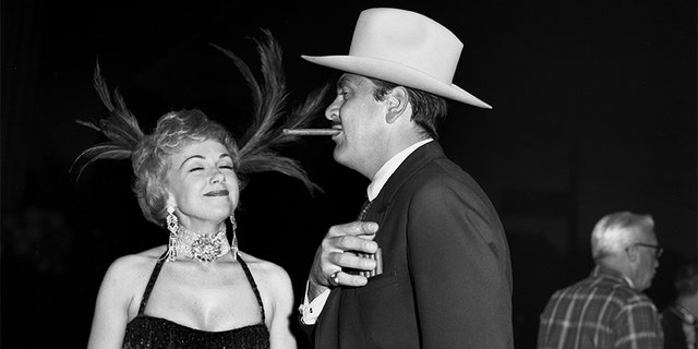 Singer and actress Edie Adams and husband comedian Ernie Kovacs attend a Hollywood costume party in 1960 in Los Angeles, California.