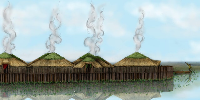 Illustrated reconstruction of Must Farm stilt houses.