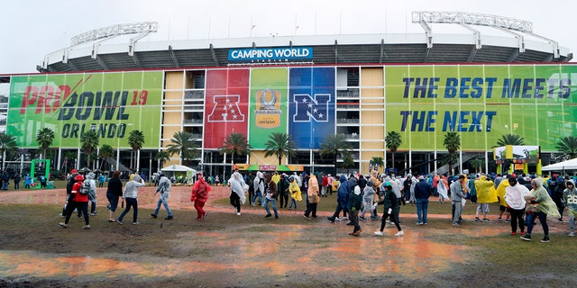 FILE - This Jan. 27, 2019, file photo shows a general view exterior of Camping World Stadium before the NFL Pro Bowl football game in Orlando, Fla. The Pro Bowl will return to Orlando for the fourth straight year and be held one week before the Super Bowl. The NFL's all-star game will be an afternoon match at 3 p.m. on Sunday, Jan. 26. (AP Photo/Gregory Payan, File)