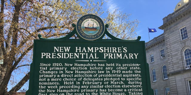 The New Hampshire primary sign at the Statehouse in Concord, NH. For a century the state has held the first presidential primary in the race for the White House