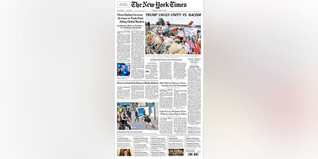 Westlake Legal Group NYTimesUnity080619 Trump plans trip to El Paso and Dems urge him to stay away; NY Times changes Trump headline after backlash fox-news/columns/fox-news-first fox news fnc/us fnc e8263d02-c1d0-526d-b44e-262a25a6c263 article