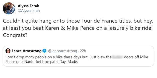 Alyssa Farah, a spokeswoman for Pence, responded to Armstrong's claim.
