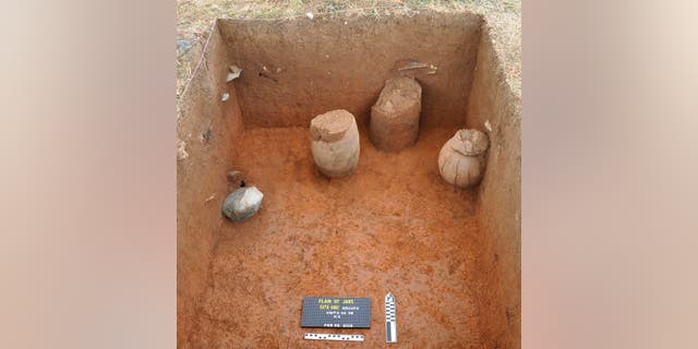 Ceramic mortuary vessels uncovered during the excavation.