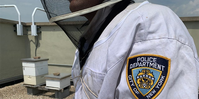 """Officer Michael Lauriano, pictured here on the roof of the 104th NYPD Precinct in Queens, says he and Officer Darren Mays are similar to """"bee whisperers."""""""