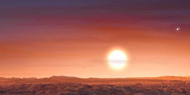 Artist's impression of Proxima b, which, like newly discovered exoplanet LTT 1445 A b, also has three stars in its sky.