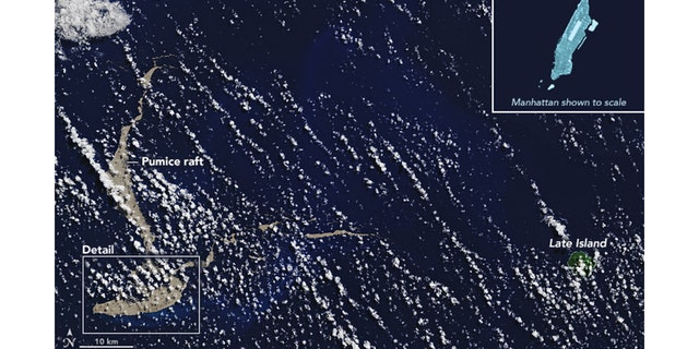 "A massive pumice ""raft"" the size of Manhattan has been floating across the Pacific Ocean toward Australia."