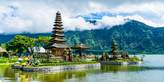 An external shot of a temple on the Beratan lake in Bali.