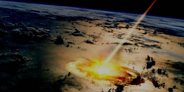 This visualization shows a large asteroid hitting Earth. One new study suggests a new timeline for Earth's early history.