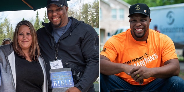 Robert Bogus III and his wife, Hilary, at the Operation Heal Our Patriots retreat in Alaska in 2014 on the left, Bogus volunteering with Team Patriot in Texas, helping families hit by Hurricane Harvey in August 2019.