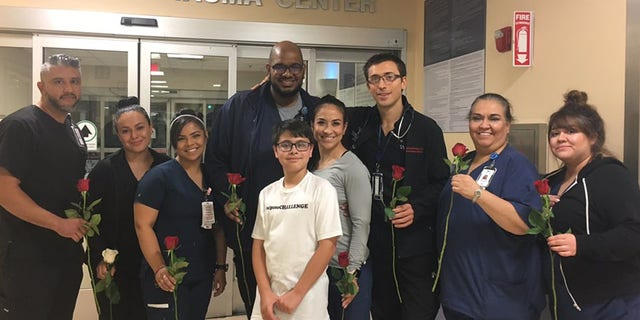 "Ruben Martinez, 11, brought roses to the doctors and nurses at University Medical Ceter ER where some of the victims from Saturday's shooting in El Paso, Texas are located. Ruben started the ""#elpasoCHALLENGE"" encouraging everyone in the city to do at least 20 random acts of kindness."