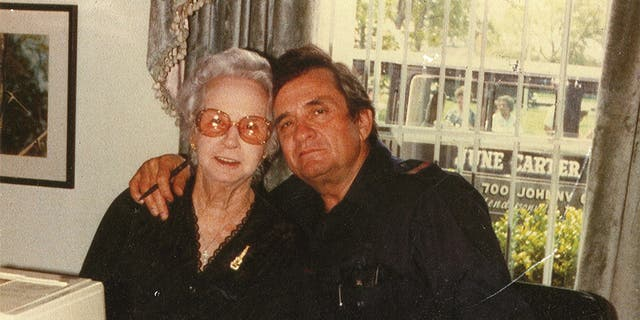 Johnny Cash with his mother, date unknown.
