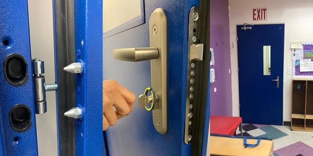 The first bullet-resistant door of about 75 planned for the Bnos Menachem school in Brooklyn was installed by Remo Security Doors, the company's founder said.