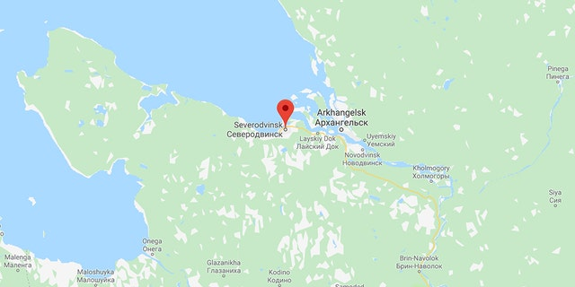 However, authorities in the nearby port city of Severodvinsk (map pictured) reported a spike in radiation levels in the area, and are unsure why the accident would cause such changes. Data cited by Greenpeace from Russia's Ministry of Emergency Situations showed radiation levels rose 20 times above the normal level in the city, about 18 miles from the testing site.