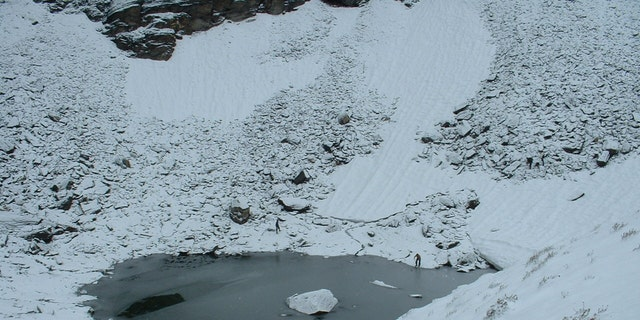 Roopkund Lake is 16,499 feet above sea level in the Indian Himalayas.