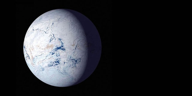 An artist's rendition of what a snowball planet might look like. Ice covers the oceans to the equators. (Credit: NASA)