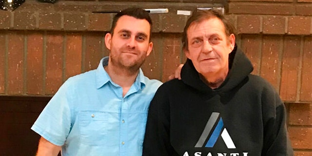 This photo provided by Erwin Hauprich shows Erwin Hauprich and his father Helmuth Hauprich, right. Erwin Hauprich says his father died at a hospital Wednesday, Aug. 7, 2019 after his dad and his father's roommate were attacked at their Garden Grove, Calif., apartment.