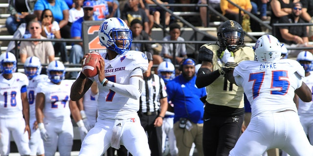 Tennessee State Tigers quarterback Demry Croft (7) drops back for a pass during Vanderbilt Commodores game against the Tennessee State Tigers at Vanderbilt Stadium, September 29, 2018 in Nashville, Tennessee. (Photo by Matthew Maxey/Icon Sportswire via Getty Images)