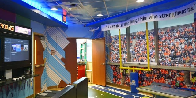 "The Tim Tebow Foundation's newest ""Timmy's Playroom"" location at AdventHealth Daytona Beach has his favorite Bible verse and many opportunities for children in the hospital to play games and have fun."