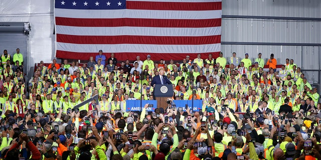 Trump spoke to a large crowd at the plant in Monaca, Pa. (AP Photo/Keith Srakocic)