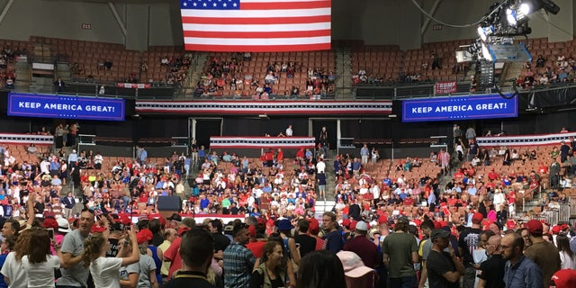 The Southern New Hampshire University Arena in downtown Manchester, NH fills up with Donald Trump supporters ahead of the president's rally, on Thursday August 15, 2019