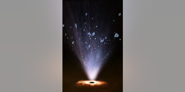 Artist's impression showing how ultrafast winds blowing from a supermassive black hole interact with interstellar matter in the host galaxy, clearing its central regions from gas. (Credit:ESA/ATG medialab)