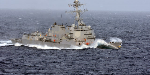 The guided-missile destroyer USS Wayne E. Meyer (DDG 108) in the South China Sea in 2011. (U.S. Navy/Mass Communication Specialist Seaman Justin E. Yarborough, File)