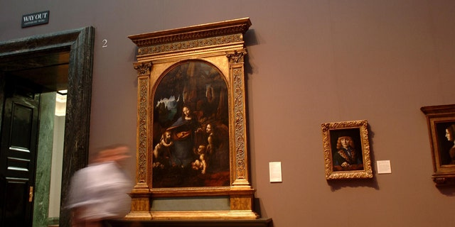 "Da Vinci's ""The Virgin of the Rocks"" at the National Gallery, Trafalgar Square, London."