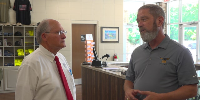 Bill Waller speaks to a local gun shop owner in Mississippi. The Republican gubernatorial candidate said he has conservative plans to move the state forward and his opponent does not. (Fox News/Charles Watson)