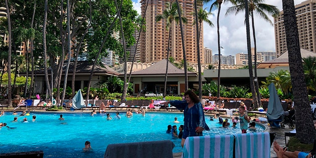 The Grand Waikikian at Hilton Hawaiian Village, one of three hotels officials said was intentionally set on fire, is shown in Honolulu on Wednesday, Aug. 7, 2019.