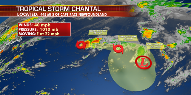 Tropical Storm Chantal formed Tuesday night, but is not forecast to affect any land in the next several days before weakening.