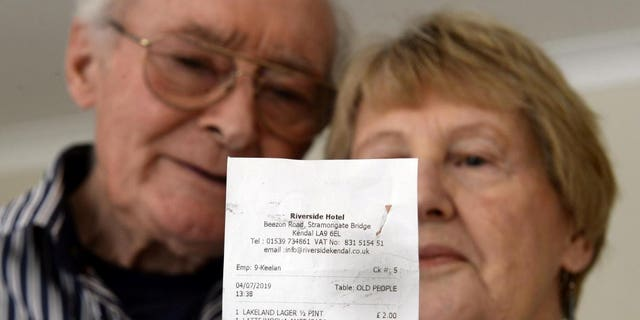 "Phyllis and Robert Hidden noticed the ""terrible"" wording on their receipt after enjoying a lunchtime drink and a bite to eat last month."