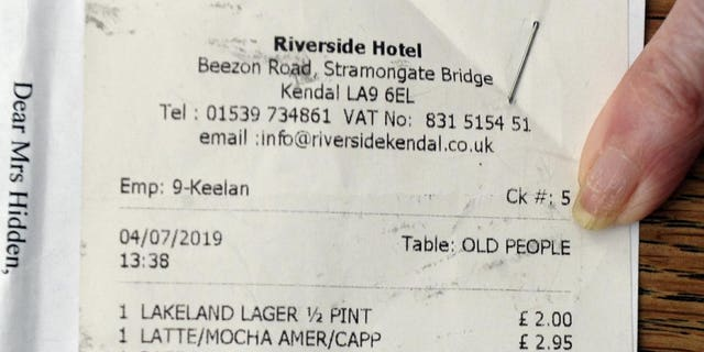 It's thought the waiter, whose identity isn't known, typed the words in a dreadful attempt to identify who the bill belonged to.
