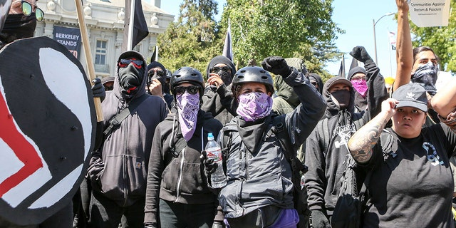 Antifa members and counter-protesters gathering during a right-wing August 2017 rally at Martin Luther King Jr. Park in Berkeley, California.