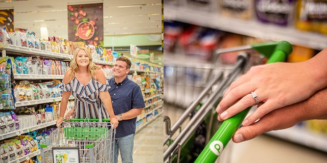 Two Publix employees, pictured, are headed to the altar after connecting at the supermarket where they both worked.