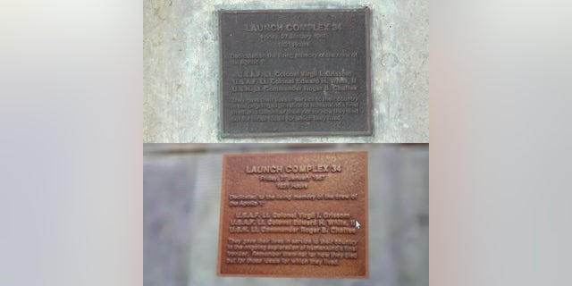 A plaque honoring the three astronauts killed in the Apollo 1 fire on Launch Complex 34. The bottom photo shows the plaque as scanned by USF's 3D imaging.