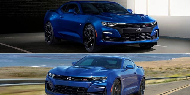 The 2019 Camaro SS (top) is being designed for 2020 (bottom).
