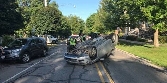 An 82-year-old woman reportedly flipped her car after swerving to avoid hitting a squirrel on Sunday.