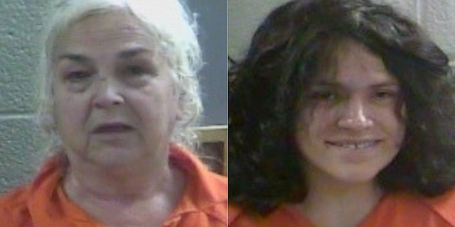 Mugshots for 69-year-old Charlotte Simpson, and her daughter, 32-year-old Rebecca Fultz, the mother of the newborn found by deputies covered in ants.