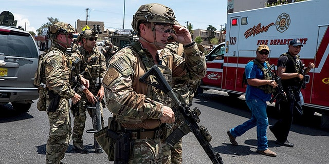Law enforcement agencies respond to the shooting at a Walmart near Cielo Vista Mall in El Paso, Texas, on Aug. 3.