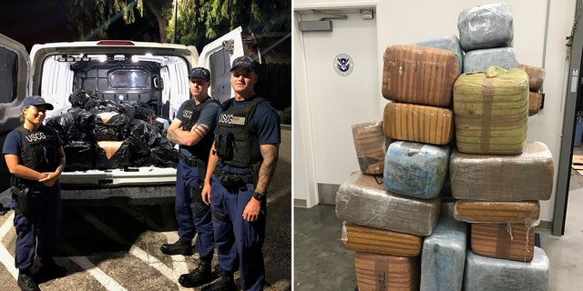 The 43 bales of pot, weighing 1,300 pounds, had an estimated value of $1 million, the Coast Guard said.