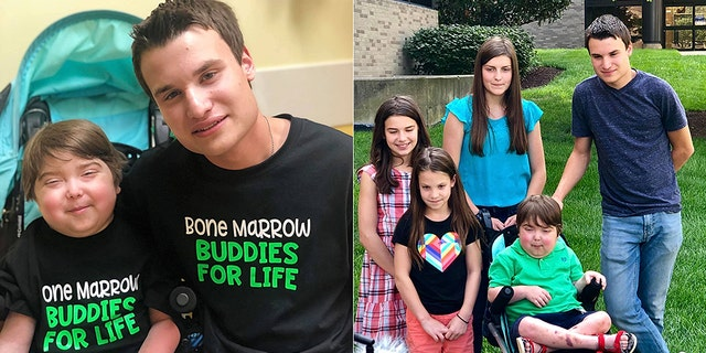 Cohen, pictured left with his older brother who is his bone marrow donor, and right with all of his siblings, is his family's superhero.