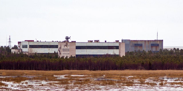 Buildings at a military base in the Russian city of Nyonoska, where at least seven people were killed in a nuclear engine test.