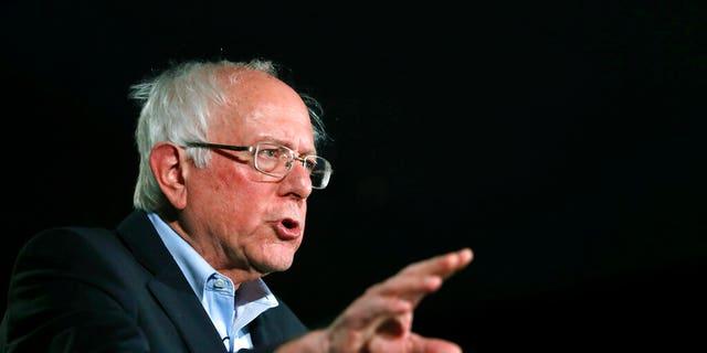 Democratic presidential candidate Sen. Bernie Sanders, I-Vt., speaking during an American Federation in Las Vegas on Saturday.