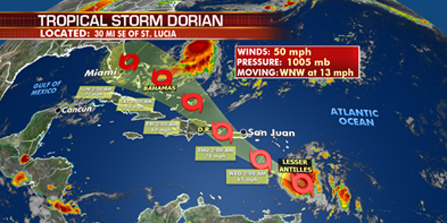 The forecast track of Tropical Storm Dorian.