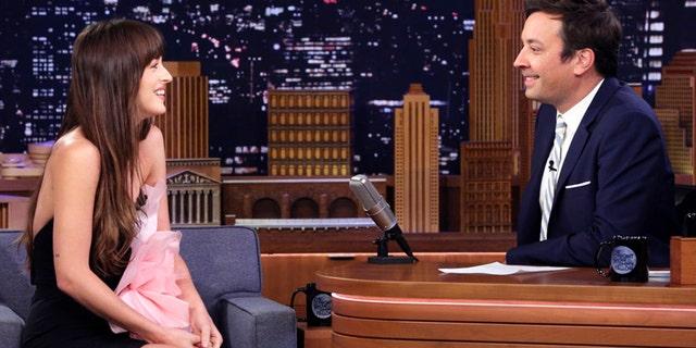 Actress Dakota Johnson during an interview with host Jimmy Fallon on Aug. 6, 2019.
