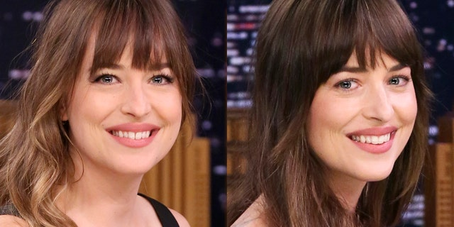 """Dakota Johnson, left, with her gap in a 2018 """"Tonight Show With Jimmy Fallon,"""" and on the right, she is pictured without it in 2019 on the late-night show."""